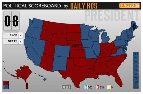 Courtesy of Daily Kos and their electoral calculating Flash gadget.